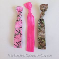 Pink Camo elastic hair ties set on Etsy, $3.50