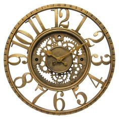 【楽天市場】壁掛け時計インテリアインテリア Infinity Instruments Gear Open Dial Resin Clock, Gold:ファミリーポケット