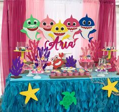 2nd Birthday Party For Girl, Second Birthday Ideas, 1st Birthday Themes, Girl Birthday Decorations, Shark Party Decorations, Baby Shark, Alice, Shark Cake, Party Ideas