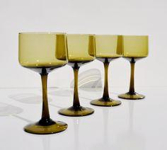 Mid Century Modern Stemware, Set Of 4 Hand Blown MOD Barware, Vintage  Danish Modern Glassware, Retro Wine Glasses, Champagne Coupes, Goblets