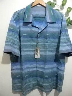 Sport Missoni Blue Green Stripe Design Men Short Sleeve Shirt Size 2XL 58 EU NEW #SportMissoni #ButtonFront