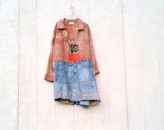 Earthy Patchwork dress funky upcycled denim boho gypsy denim jacket wearable art tunic dress by CreoleSha