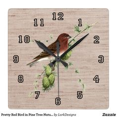 Pretty Red Bird in Pine Tree Natural Background Square Wall Clock #zazzle