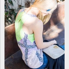 {J.Crew} Windowpane Floral Silk Top We took one of our favorite ditzy florals and created a custom colorblock print on this drapey top in silk crepe de chine. Retail. Size 00. Silk . Excellent condition. Will not model as this is not my size. Actual item is in pic 3. J. Crew Tops Tank Tops