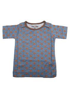 Kik*Kid - Grijsblauwe T-shirt met camel sterren - Pepatino.be