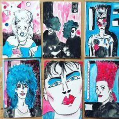 80's Club Kids postcard set. Ink and watercolour, by Helen Dryden 2017.
