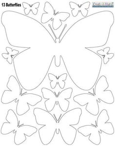 White Butterly Wall Stickers ~Instantly create a beautiful butterfly inspired room with peel & stick butterfly wall decals in white. The decals are made of vinyl, peel & stick removable wall decal appliques. sheet of peel & stick butterfly wall dec Paper Butterflies, Paper Flowers Diy, Beautiful Butterflies, Diy Paper, Paper Art, Paper Crafts, Free Paper, Butterfly Template, Butterfly Crafts