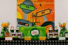 Robot Party Backdrop