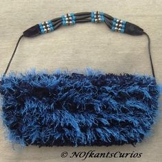 SALE!  Blue Velvet! Hand knitted, Velvet lined Handbag & Leather & Bead strap £10.00