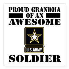 "Proud U.S. Army Grandma Square Sticker 3"" x 3"" for"