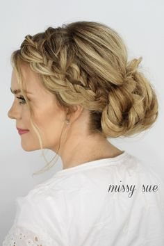 Perfectly Messy Bun with Cascading Waterfall Braid #BridesmaidsHair