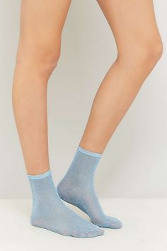 Chaussettes en lurex transparent bleu pastel