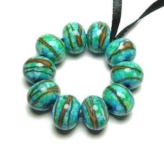 Handmade Lampwork Glass Beads in Turquoise and by artbylisi, $21.00