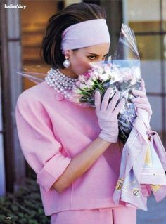 "oscarprgirl: "" @cturlington buys the flowers herself, in Oscar, pearls and an epic headband. from Vogue February, 1990 """
