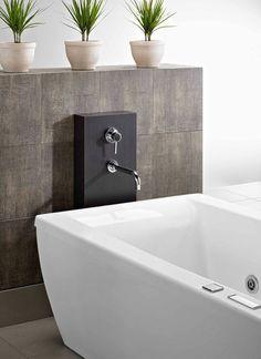 Wood column supports wall mount faucet for a freestanding bath Deep Bathtub, Bathtub Walls, Timeless Bathroom, Simple Bathroom, Master Bathroom, Bathroom Ideas, Bathroom Inspiration, Tub Shower Combo, Shower Floor