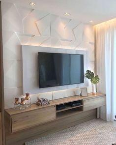 Home Room Design, Home Interior Design, House Design, Interior Modern, Home Living Room, Living Room Decor, Living Room Tv Unit Designs, Tv Wall Design, Wall Units