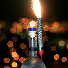 Champagne bottle sparklers, birthday cake candle, sparklers for bottles Bottle Sparklers, Sparkler Candles, Birthday Cake Sparklers, Birthday Cake With Candles, Gold Bottles, Night Club, Lava Lamp, Champagne, Sparkles