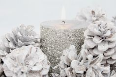silver sparkled candle and dusted white pinecones = White and Shabby: WHITE CHRISTMAS