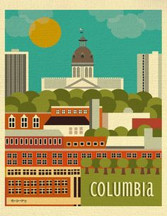 Columbia, South Carolina Skyline Poster - Southern Travel Wall Art - Home Decor for Homes, Offices, as Gifts - style sold by Loose Petals. Shop more products from Loose Petals on Storenvy, the home of independent small businesses all over the world. Columbia South Carolina, South Carolina Art, Bourbon And Boots, Hallmark Greeting Cards, Travel Wall Art, Down South, City Art, Vintage Travel Posters, Retro