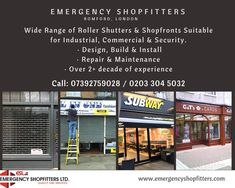 "Emergency Shopfitters Ltd Wide Range of #RollerShutters & #Shopfronts Suitable for Industrial, Commercial & #Security. ·Design, Build & Install · #Repair & Maintenance · Over 2+ decade of experience ""24 hour #Emergency #Repairs 7 days a week"". Call: 07392759028 / 0203 304 5032 Or Visit our site - http://www.emergencyshopfitters.com/"