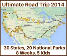Last time we met Terri and her family of seven who took the Ultimate Road trip with 30 states and 20 national parks in an eight week period. Here we'll share amap and stops they took during their trip.  I used MyScenicDrives.com to plot the map. The site statesthat