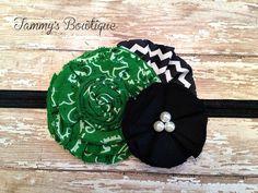 Orange Bandana Fabric Flower Headband Green by TammysBowtique, $6.50