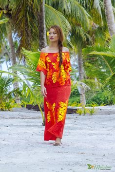 Orange yellow Island Wear, Island Outfit, Tropical Fashion, Tropical Dress, Clothing Patterns, Dress Patterns, Samoan Dress, Samoan Designs, Tahiti