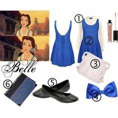 déguisement belle et la bête idée robe bleue simple chaussures personnage