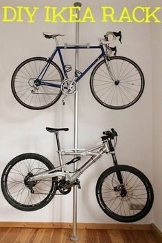 This is actually an Ikea hack using a Stolmen post. Learn more at Ikea Hackers. Bicycle Storage Rack, Bicycle Rack, Bike Hanger, Garage Organization, Garage Storage, Workshop Organization, Organization Ideas, Wall Storage, Ikea Storage