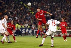 Steven Gerrard's Liverpool career in picturesGerrard scored the first goal for Liverpool in the Champions League final against AC Milan. Steven Gerrard Liverpool, Liverpool One, Liverpool Legends, Liverpool Football Club, Uefa Champions League, Football Results, Stevie G, Andrea Pirlo, Fc Bayern Munich