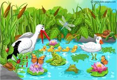 Free puzzles to play online - Animals in the Pond 42 pieces Pond Crafts, Spring Images, Pond Life, Kids Pages, Bird Theme, School Themes, Preschool Activities, Therapy Activities, Cute Drawings