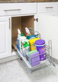 Single Cleaning Supply Caddy Pullout- Under the sink cleaning supply caddy pullout. Retail Packaged. (Item # SCPO-R)