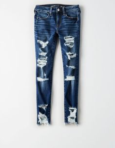 Shop American Eagle for Jegging Crop Jeans that look as good as they feel. Browse cropped jeggings available in different washes, stretch levels & inclusive sizes. Cute Ripped Jeans, Ripped Jeans Outfit, Ae Jeans, Denim Overalls, High Jeans, High Waist Jeans, Hollister Jeans, Men Shorts, Crop Jeans