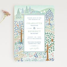 """""""Woodland Garden"""" by Minted artist Paper Sun Studio. The new 2018 wedding invitation collection is out."""