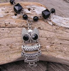 Upcycled Owl Necklace Owl Necklace Upcycled by CathysCraftyDesigns