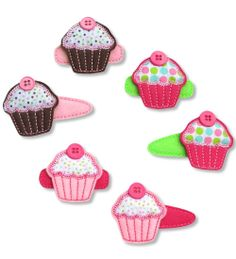 Cupcake Felt Hair Clip on alligator clip or snap clip. Handmade, machine embroidered. Visit Polkadots & Moonbeams for dozens of felt hair clip designs and free shipping!