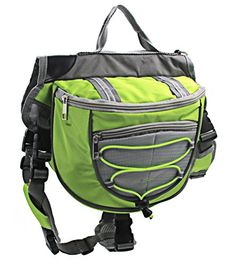 OSPet Saddle Bag Backpack for Large Dog Detachable Pack Instantly Turns into Harness Adjustable Tripper Hound Saddlebag Travel Hiking Camping Green * Details can be found by clicking on the image.Note:It is affiliate link to Amazon.