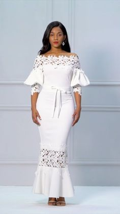 White Slash Lantern Sleeve Neck Lace Maxi Dres from Diyanu - Ankara Dresses, Shirts & African Lace Dresses, Latest African Fashion Dresses, African Lace Styles, Lace Dress Styles, African Style, Short Beach Dresses, Sexy Dresses, Glamour Moda, Kaftan Designs