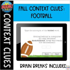 Context Clues: Fall BOOM cards Context Clues, Comprehension Strategies, Student Motivation, Brain Breaks, Reading Skills, Autumn Theme, Task Cards, Sentences, Middle School