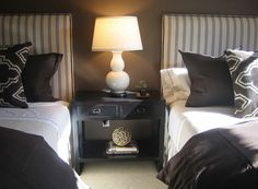Monotonal bedroom - very smart, simple and masculine. Good colour on the walls and lovely mix of fabrics