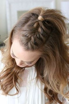 Over Thanksgiving weekend, my friend was asking me how to create this French Mohawk Braid. Since half up hairstyles are some of the most requested tutorials I thought it'd be perfect to share a tutorial with you as well! This is a simple yet edgy… Box Braids Hairstyles, French Plait Hairstyles, Half Braided Hairstyles, Trendy Hairstyles, Hairstyle Hacks, Hairstyles Pictures, Style Hairstyle, Updo Hairstyle, African Hairstyles