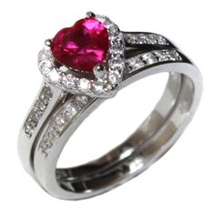 Ruby Heart Promise Ring �?? Red Cubic Zirconia