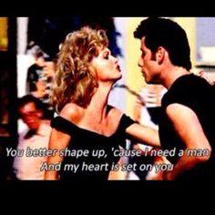 Grease John Travolta Olivia Newton-John You better shape up, 'cause i need a man And my heart is set on you John Travolta, Travolta Gif, Sandy Grease, Drive In, Olivia Newton John, Leonard Cohen, Disney Marvel, Pulp Fiction, Grease Quotes