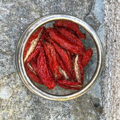 My homemade sun dried tomatoes  the final result. It was sort of effortless but even in 30c heat it required 4/5 days of drying on a roof. But they taste delicious and natural and sweet and tangy. And the colour! A glossy Mac lipstick red. #food #france #travel #recipe #homemade #tomatoes #sundriedtomato #sun