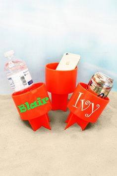 Just Spike It in the sand to keep your drink from spilling and to keep it sand free! Also great for holding your phone, music player, suntan lotion, and more to keep them off of the hot beach sand! Beach Weather, Suntan Lotion, Hot Beach, Beverages, Drinks, Drink Holder, Monogram Initials, Spring Break, Drink Sleeves