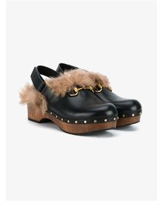 GUCCI Amstel Kangaroo Fur & Leather Clogs. #gucci #shoes #clogs