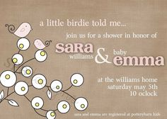 Baby Shower Invitation  Little Birdie by sweetpeababy on Etsy, $16.00
