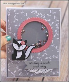 Shaker card featuring adorable skunk made with the Foxy Friends stamp set and Fox builder punch by Stampin' Up!