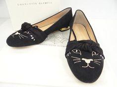 Auth CHARLOTTE OLYMPIA Flat Shoes ECCENTRIC KITTY 37 Rhinestone 13141338200 sF