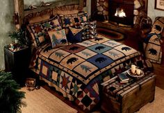 The Country Porch features the Bear Walk Quilt and bedding accessories from Donna Sharp. Bedroom Sets, Diy Bedroom Decor, Master Bedroom, Rustic Bedding Sets, Wildlife Quilts, Rustic Quilts, Quilted Gifts, Bear Decor, Quilt Bedding